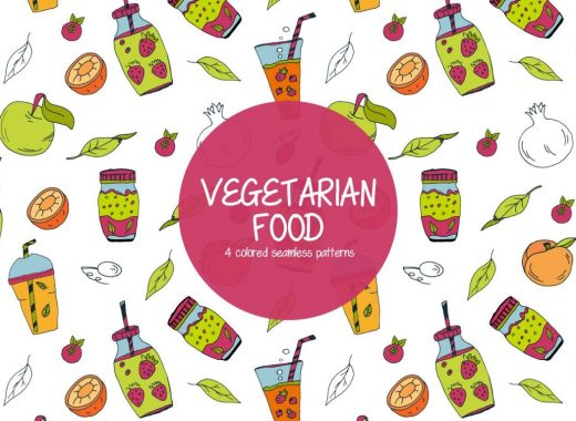 Vegetarian Food Illustration Vector Free Pattern