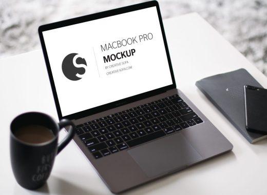 Free Macbook Pro Mockup Coffee