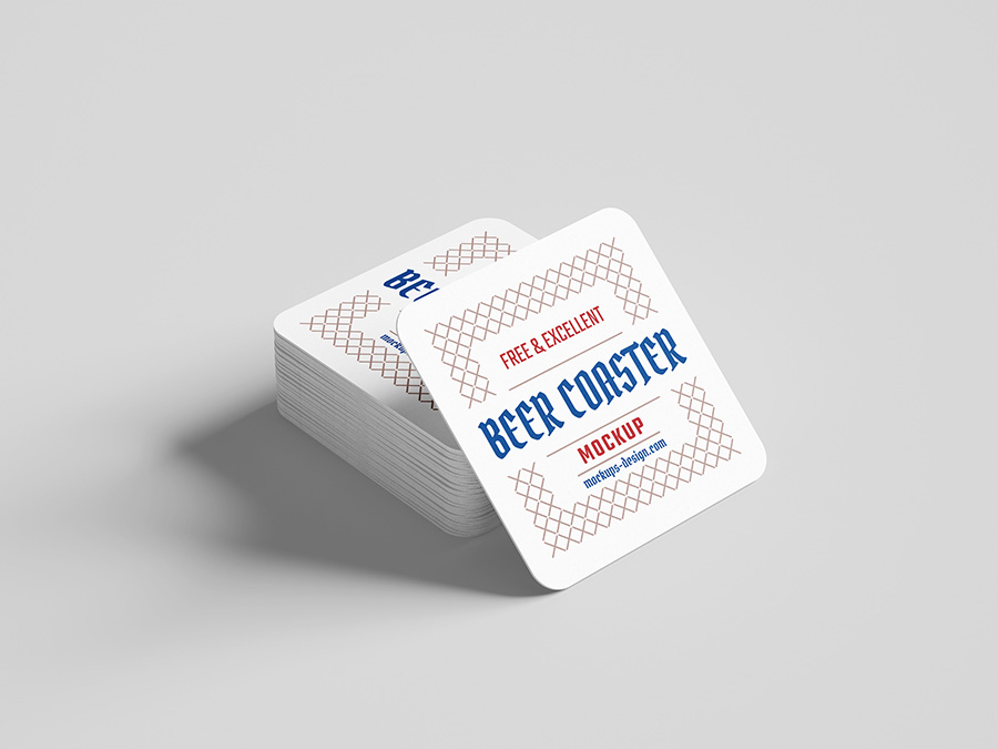 Square Beer Coaster Mockup