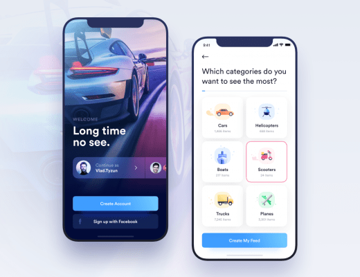 free car rental app ui kit