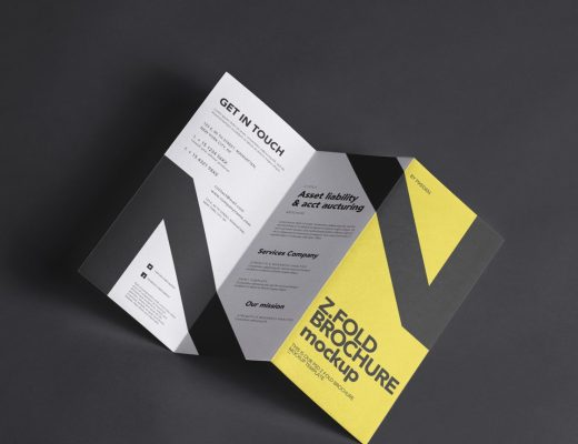 free three fold brochure mockup