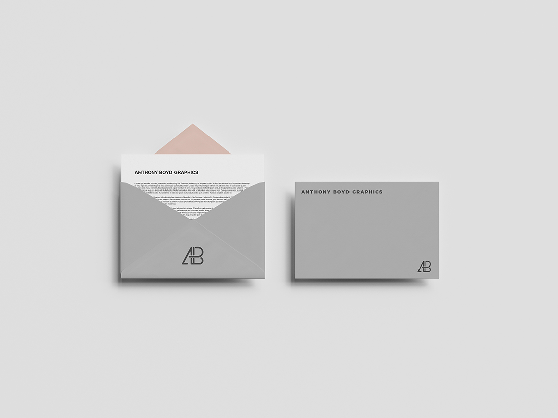 Free Envelope Top View Mockup PSD