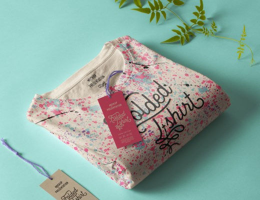 free folded shirt mockup PSD