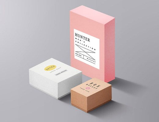 free packaging boxes mockup psd
