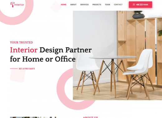 Free Interior Design Website Template
