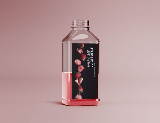 Half-filled Juice Bottle Mockup