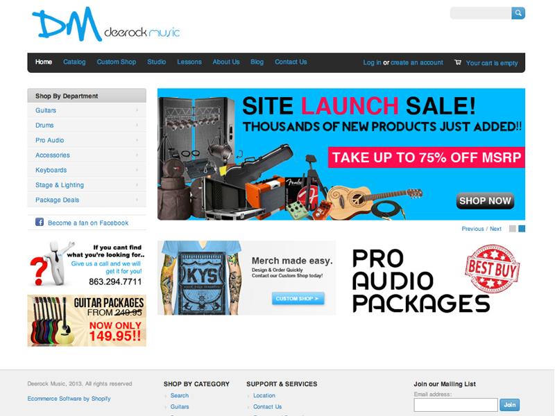 Deerock Music Web Design