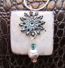 White Enamel with Filigree Dangle
