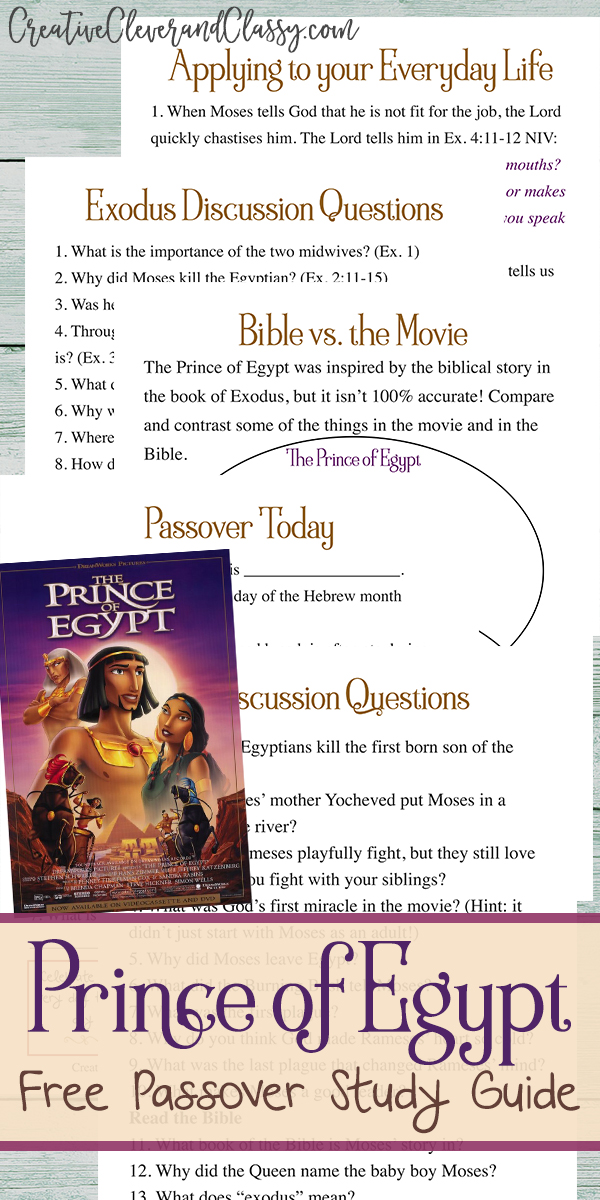 Learn about Passover and the Exodus through the movie The Prince of Egypt, with this unit study and discussion questions!
