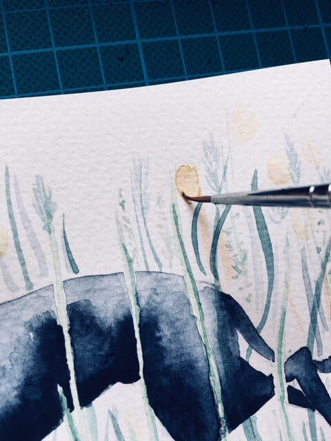Du siehst hier wie Dodo die Blumen im Hintergrund malt.