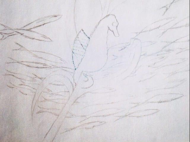 Du siehst die Skizze in Bleistift zu den Bild des Seepferdchens in Aquarell