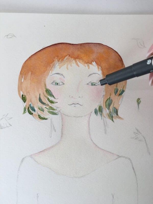 Die Pupille wird mit wasserfestem Tusche-Liner gemalt.