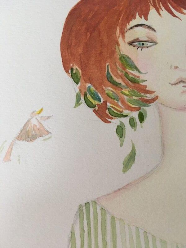 ein zweiter Vogel flattert um das Bild eies jungen Mädchens im Artdeco-Stil in pastellen Grüntönen. Das Bild wurde von der Künstlerin Dodo Kresse gemalt.