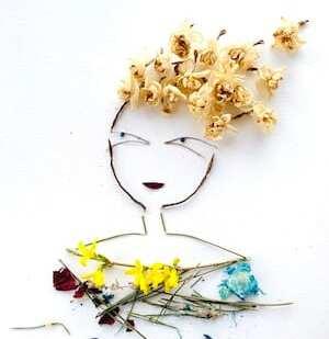 Man sieht die Zweige für das Kleid des Collagebildes Happy Mind von Dodo Kresse