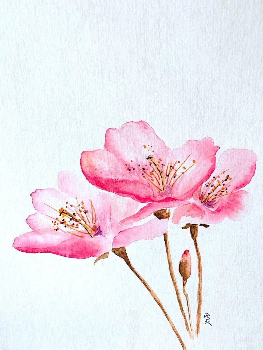 Hier siehst du, wie ich den zarten Kirschblüten die Staubgefässe ins Zentrum male.
