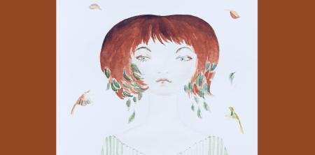 """Man sieht ein Aquarelle der Künstlerin Dodo Kresse namens """"Herbstküsse"""""""