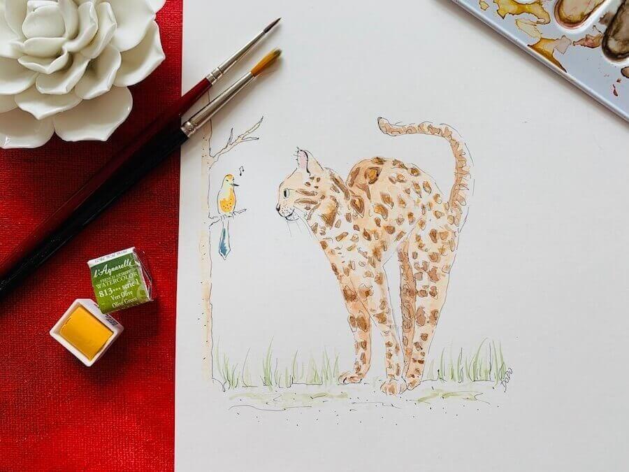 Aquarell Bengal Katze: wer schnurrt denn da?