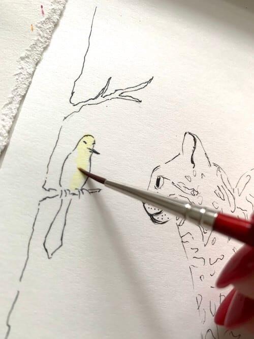 Du siehst wie Dodo den Vogel mit gelber Aquarellfarbe ausmalt.