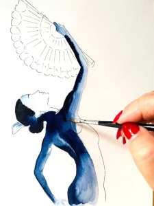 Du siehst wie Dodo mit Indigoblau die Rückenpartie der Tangotänzerin malt