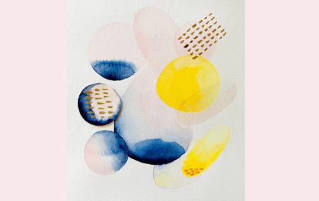 Hier siehst du ein fertiges abstraktes Aquarell von Dodo Kresse in gelb rosa und blau