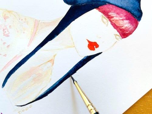 du siehst wie ich die haare der geisha lade mit indigoblauer aquarell farbe male