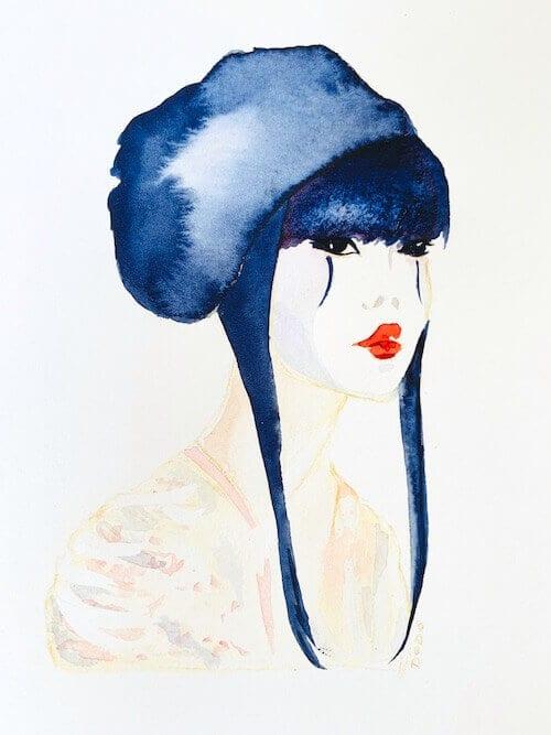du siehst hier das fertige aquarell geisha