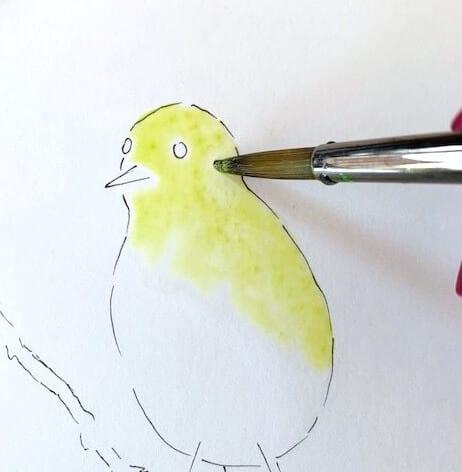 Hier siehst du wie ich den Vogel mit der ersten Farblasur versehe