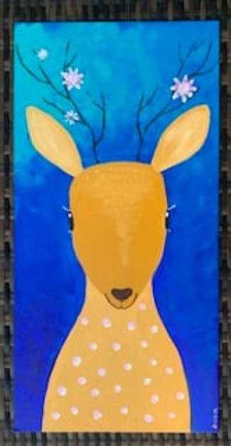 Das Bambi, gemalt mit Acrylfarben