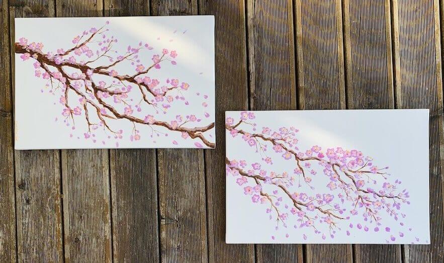 du siehst die fertigen acrylbilder zum thema Kirschblüten