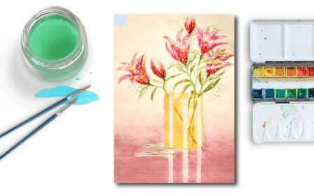 du siehst das coverbild des posts lilien-aquarell
