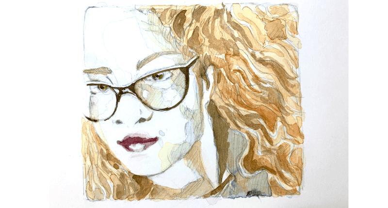 Du siehst ein Selbstportrait mit Bleistift gezeichnet und mit Aquarellfarben koloriert