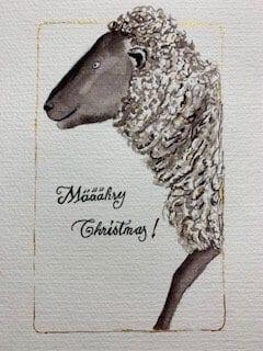 du siehst die fertige Weihnachts-Karte mit meinem lieben Schaf