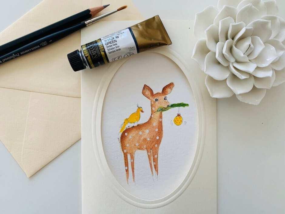 Du siehst das Coverbild für die Weihnachtskarte Bambi
