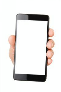 Hand smart phone isolated