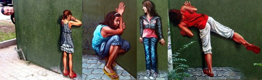 Playing hide and seek, urban painting, acrylic on wall