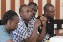 Sam Wakoba anwering questions from the audience