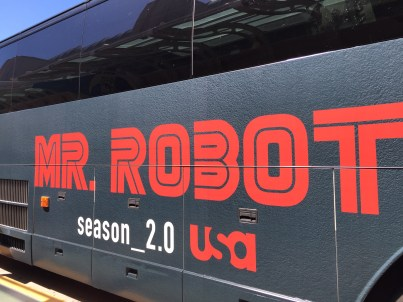 Public transportation decked out in MR. ROBOT