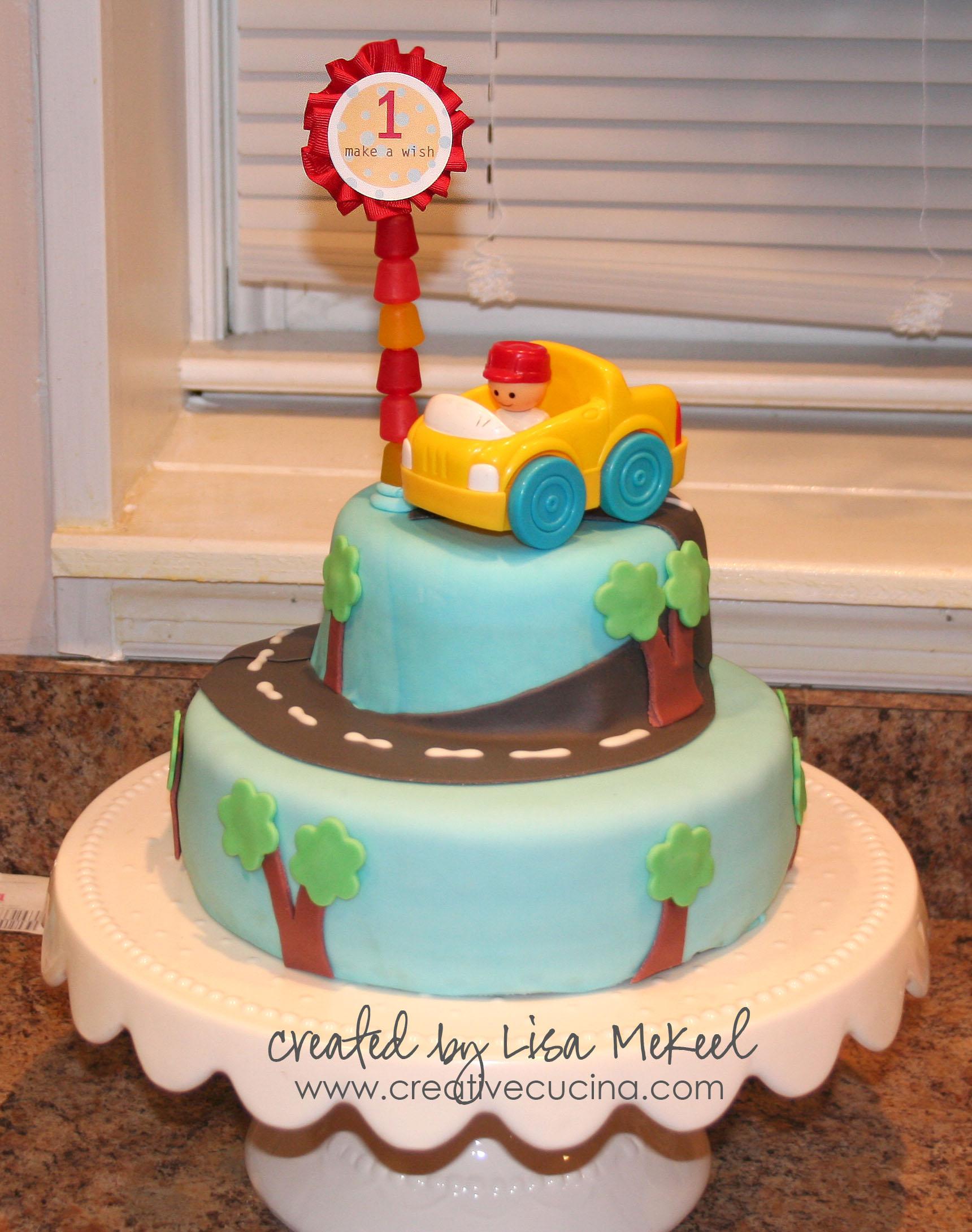 1st Birthday Boy Car Cake