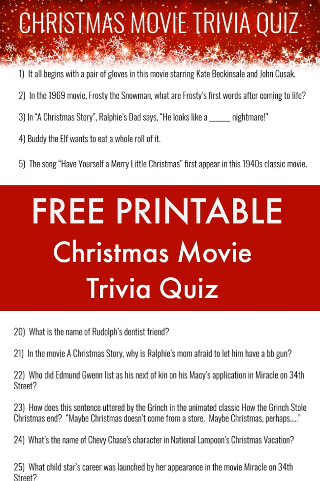 It's just a picture of Satisfactory Christmas Movie Trivia Printable