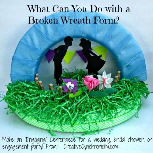 Save that broken wreath form and turn it into a centerpiece for a wedding, shower, or other celebration! CreativeCynchronicity.com