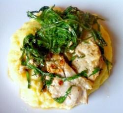Tasty Tuesday: Sauteed Mizuna with Chicken Over Creamy Polenta