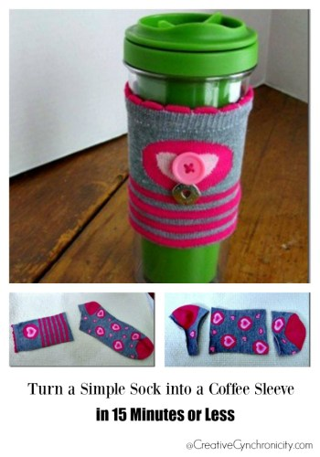 Craft Tutorial - Turn a simple dollar store sock into a coffee sleeve in 15 minutes or less.