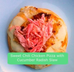 Sweet Chili Chicken Pizza with Cucumber Radish Slaw Recipe