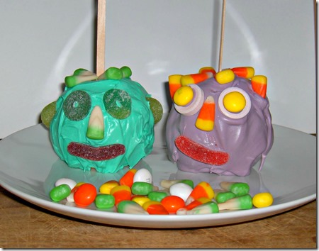 Monster Candy Apple Faces - the kids can safely help make these!