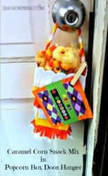Caramel Corn Snack Mix in Door Hanger Boxes{Halloween Popcorn Box Blog Party 2015}