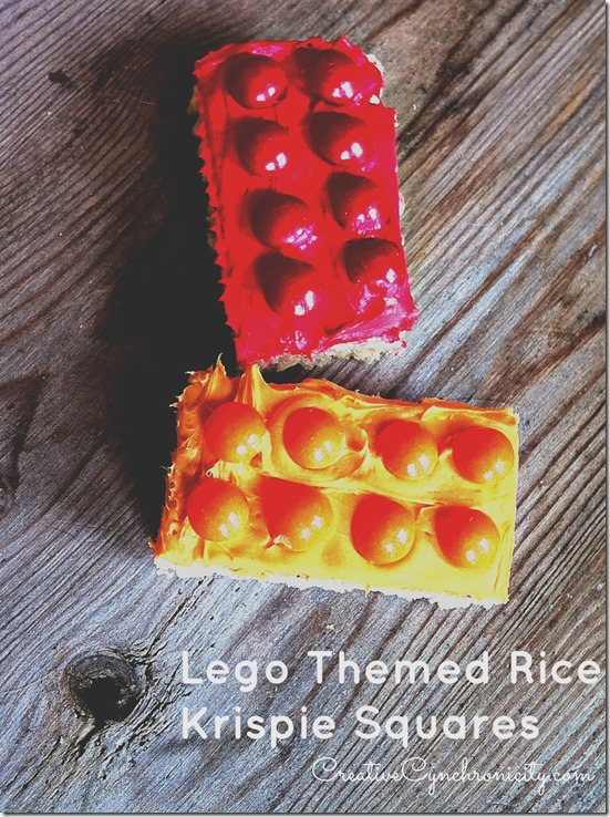 Lego Themed Rice Krispie Squares for a Lego Night with Netflix