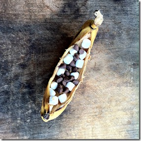banana boats with peanut butter marshmallows and chocolate chips