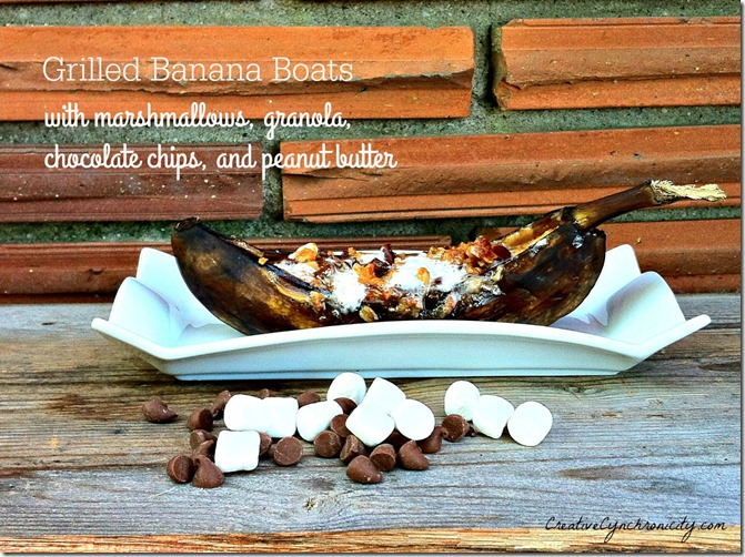 grilled banana boats recipe with marshmallows, granola, chocolate chips, and peanut butter