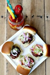 Bacon Blue Cheese Sliders and Strawberry Lemonade