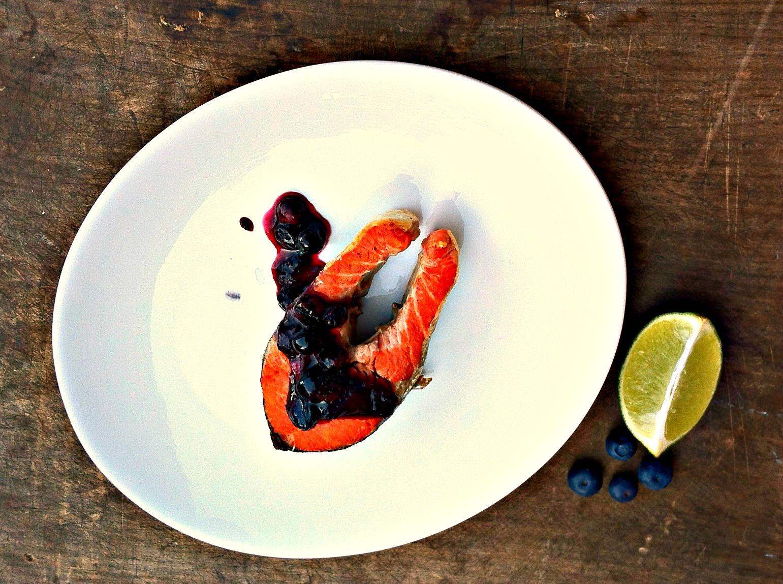 Grilled Cedar Planked Sockeye Salmon with Maple Blueberry Chutney